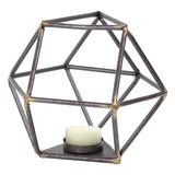 "Geometric Metal Candle Holder (6.6"" H)"