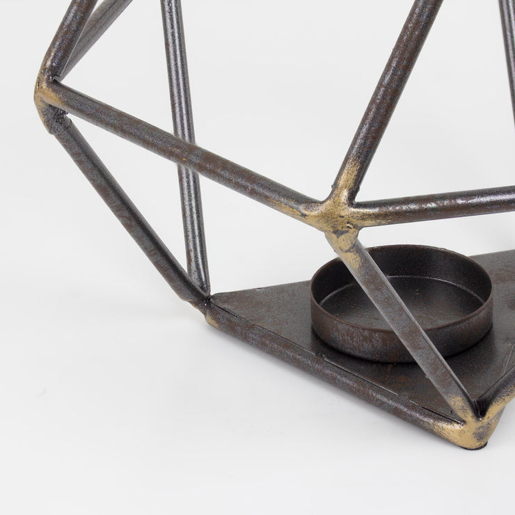 "Geometric Metal 6.6"" Candle Holder"