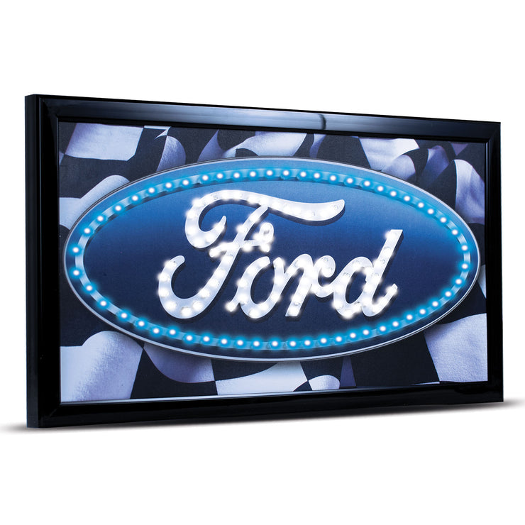 Officially Licensed Ford Logo Framed LED Sign