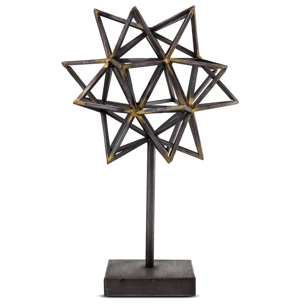 Rustic Metal Star Figurine on Stand