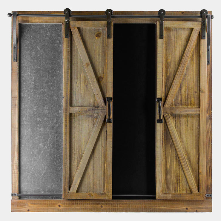 Sliding Barn Doors Chalkboard Message Board Organizer