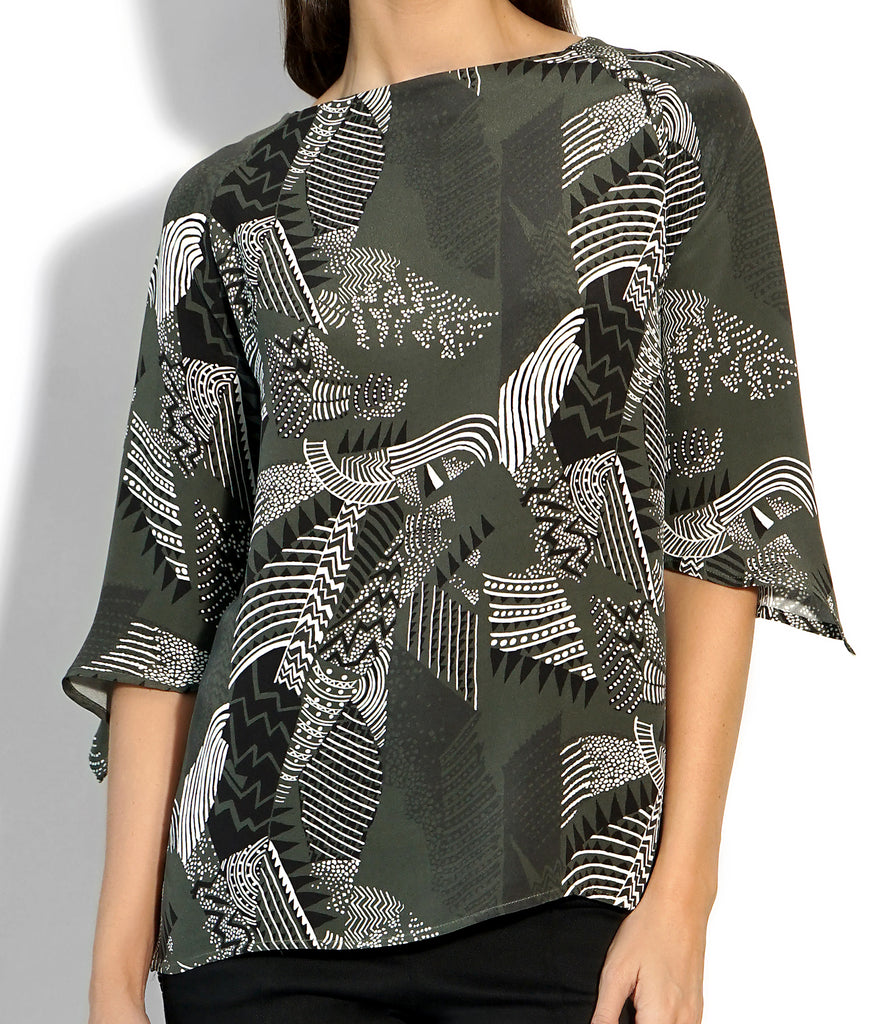 Image of JANIS TOP SILK PRINT MILITARY
