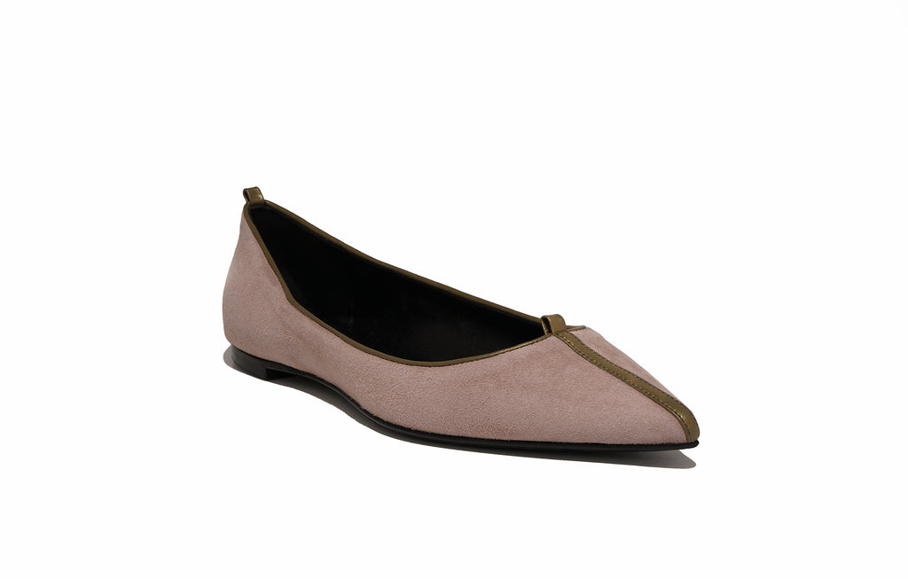 Image of JULIE FLAT SUEDE ROSE