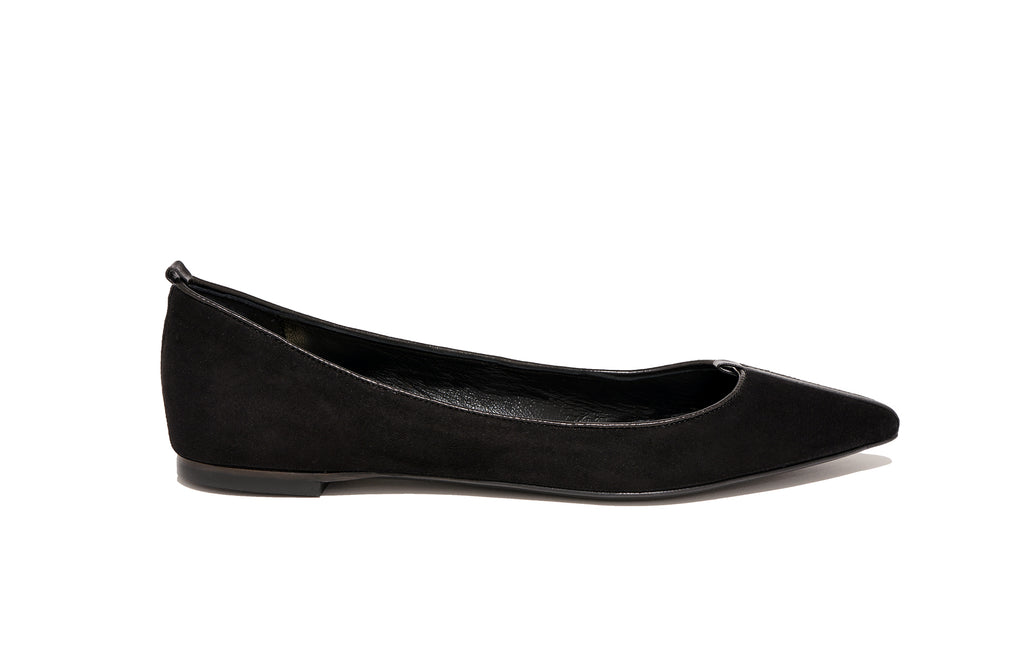 Image of JULIE FLAT SUEDE ASIAGO NERO BLACK
