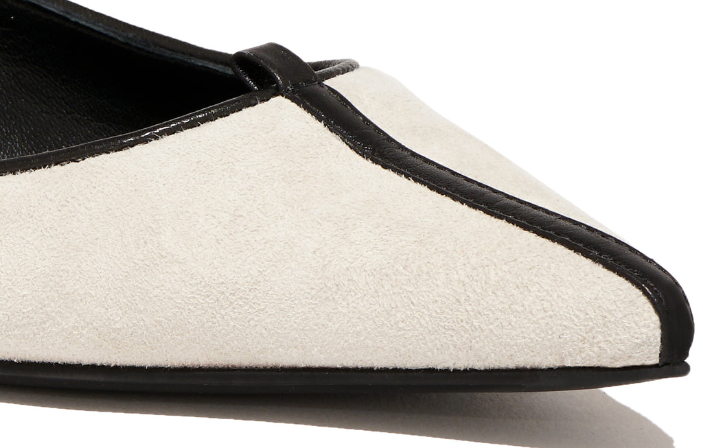 Image of JULIE FLAT SUEDE ALBATROS OFF WHITE