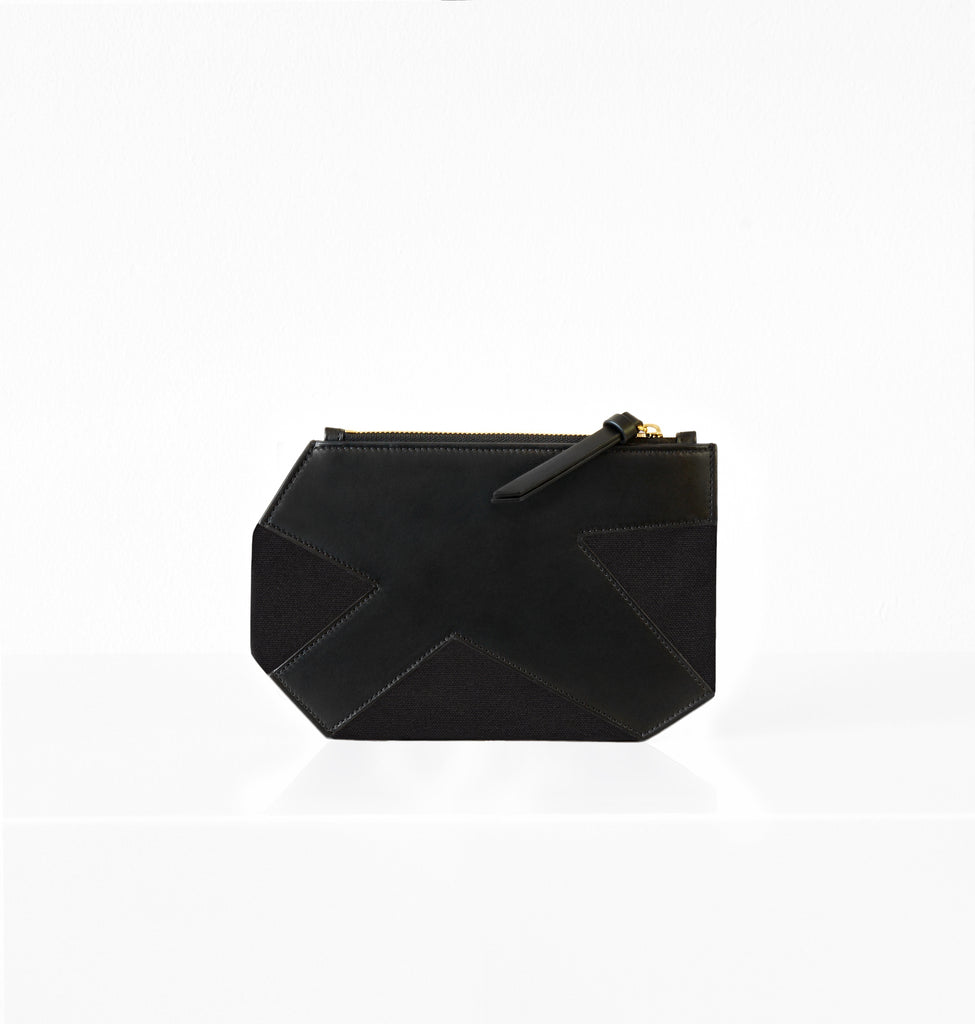K CLUTCH CANVAS BLACK