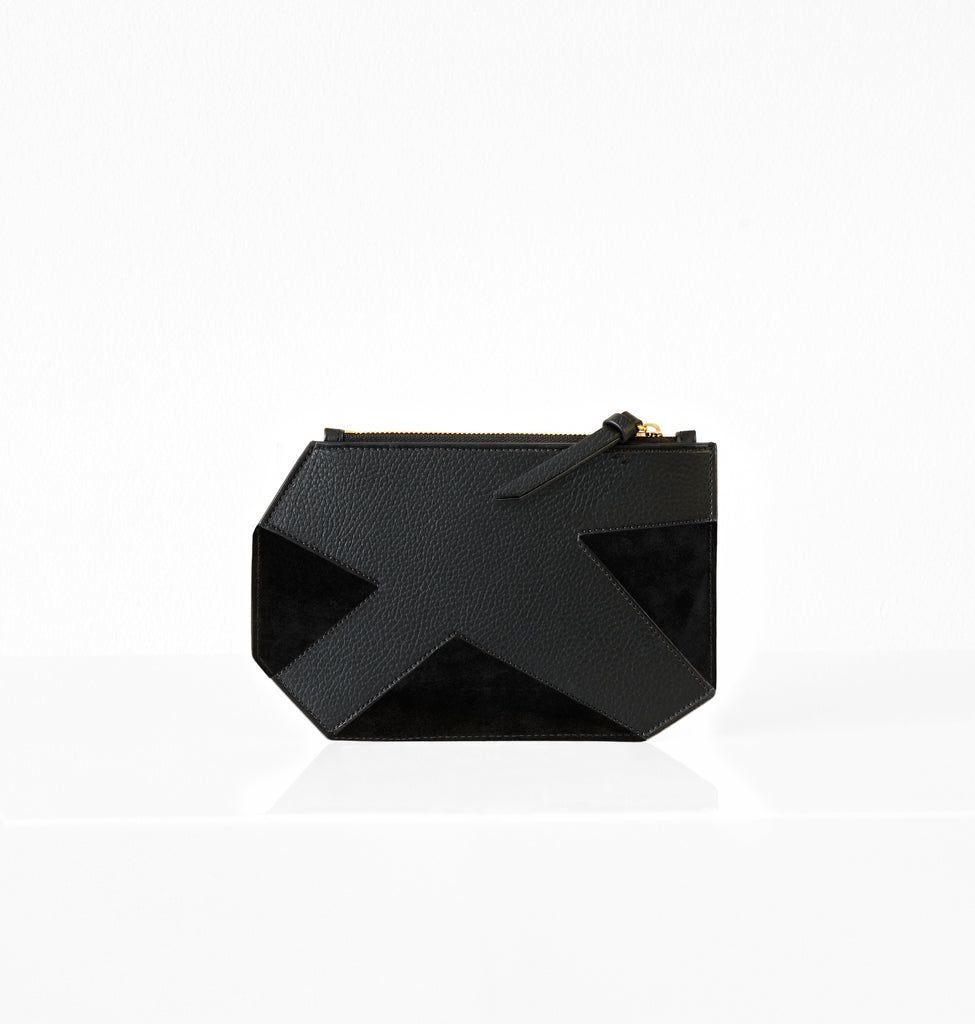 K CLUTCH SUEDE BLACK