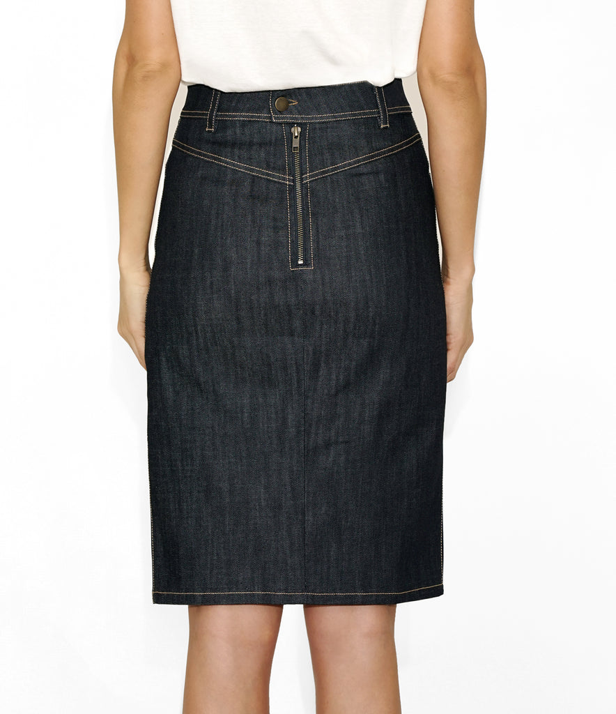 Rear Image of KATE SKIRT DENIM