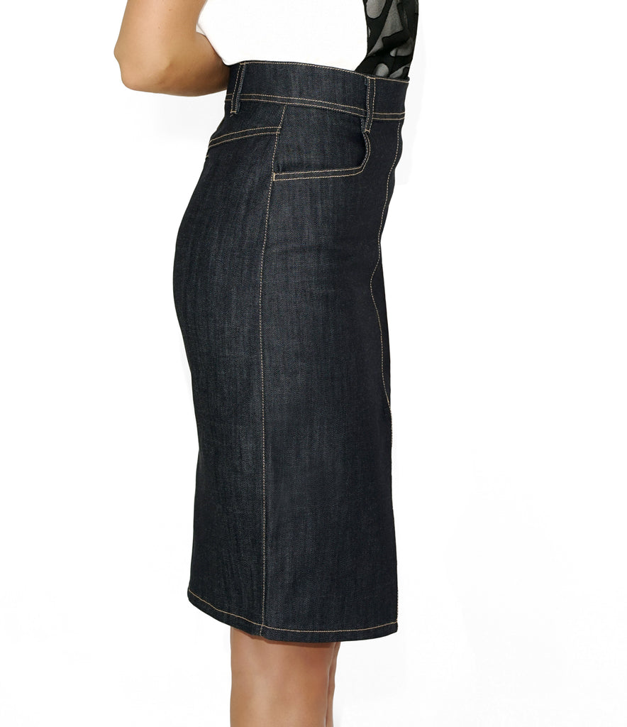 Side Image of KATE SKIRT DENIM