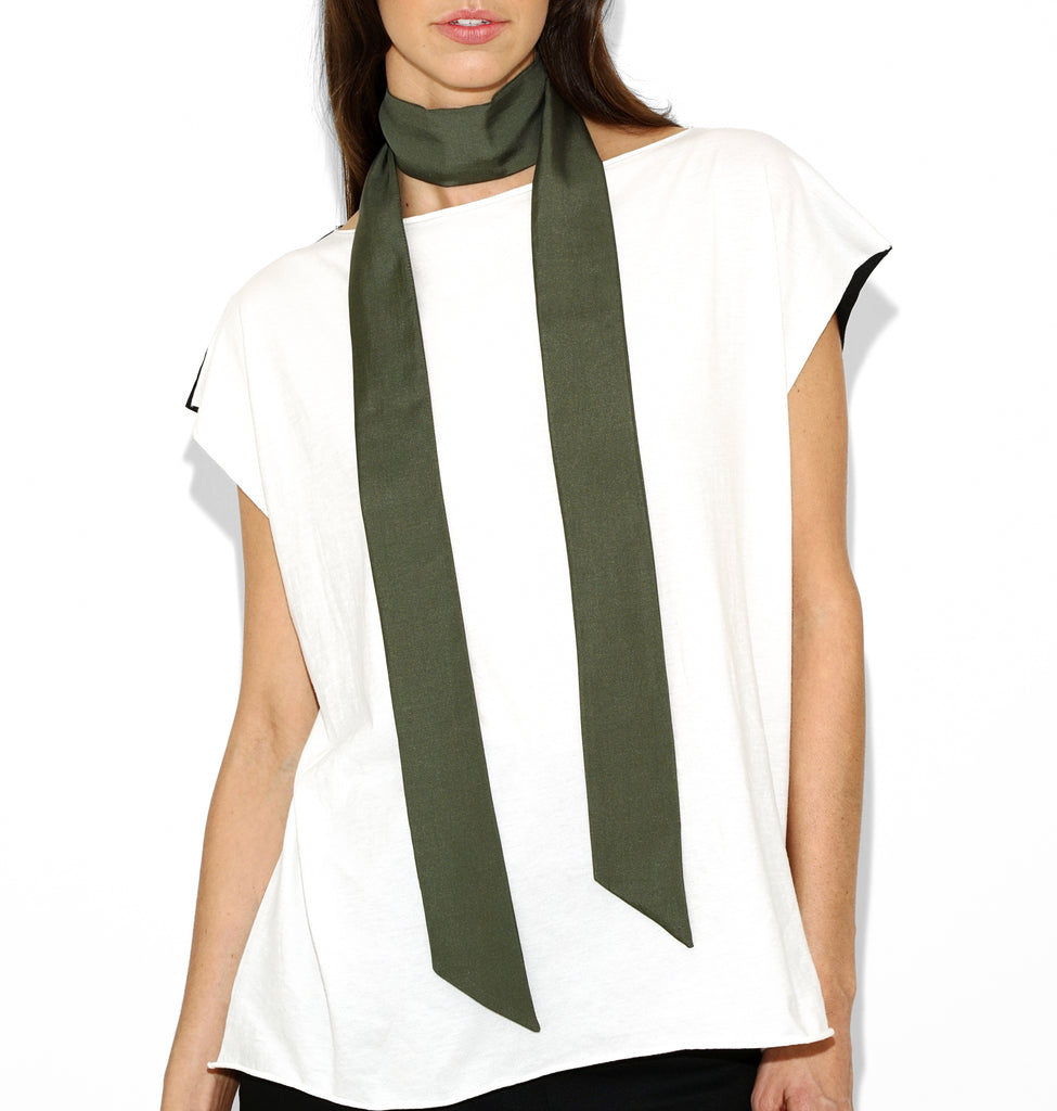 Image of NINA SILK SCARF Military
