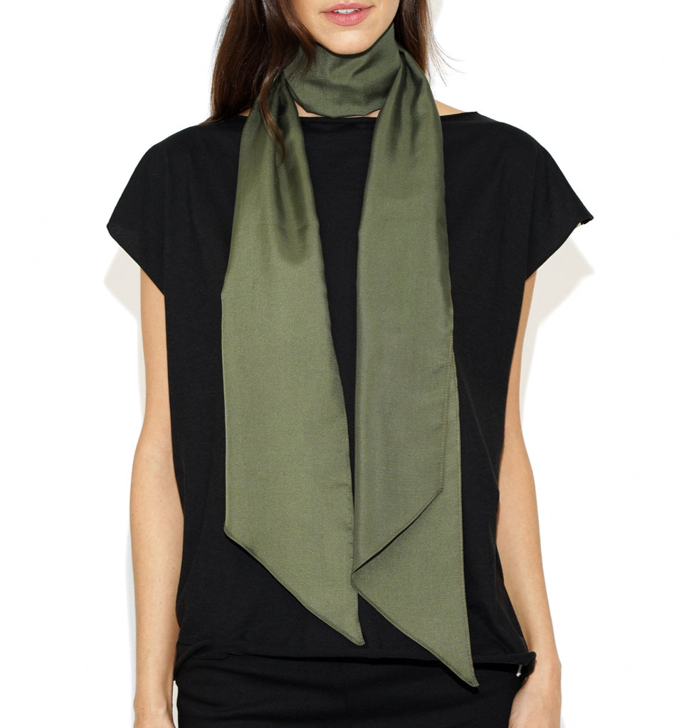 Image of TYLER SILK SCARF Military