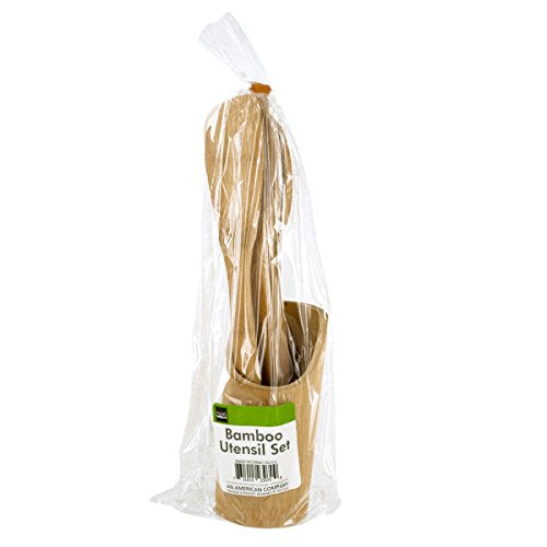 bulk buys OL512 Bamboo Utensil Set with Container, Brown/Beige