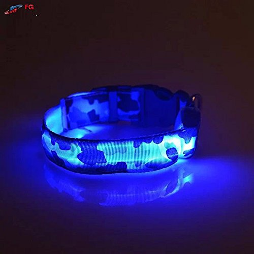 SHERRI'S HOME AND GARDEN Waterproof Blue LED Light Medium Dog Collar with Flash for Night Safety