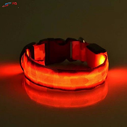 SHERRI'S HOME AND GARDEN Waterproof Red LED Light Small Dog Collar with Flash for Night Safety