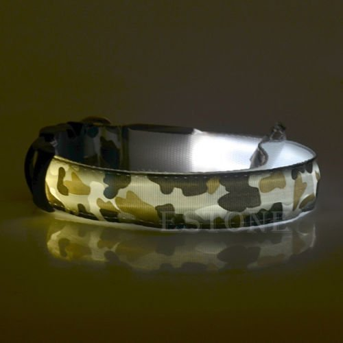 SHERRI'S HOME AND GARDEN Waterproof Camo LED Light Large Dog Collar with Flash for Night Safety