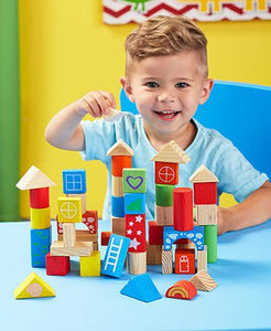 LTD Commodities Colorful 100 Piece Wooden Building Block Set