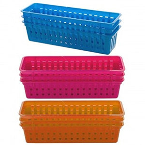 Colorful Rectangular Plastic Storage Basket Set -Set of 3