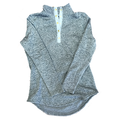 Heathered Snap Pullover