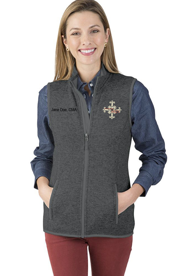 Delaware Surgical Arts Women's Pacific Heathered Fleece Vest with Custom Name & Title