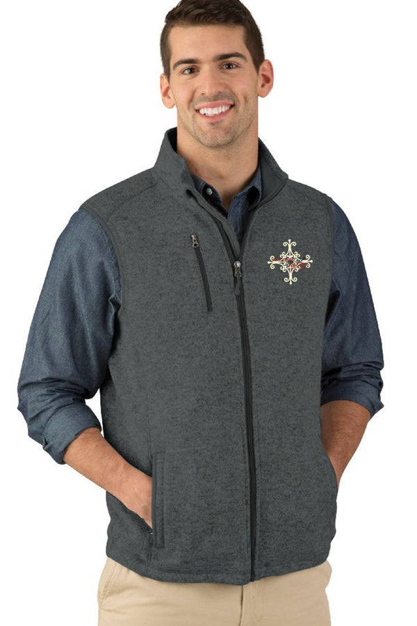 Delaware Surgical Arts Men's Pacific Heathered Fleece Vest with Logo Only