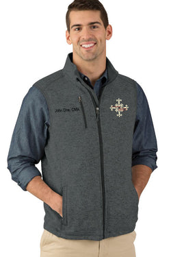 Delaware Surgical Arts Men's Pacific Heathered Fleece Vest with Custom Name & Title