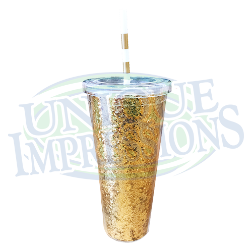 Sorority Gold Glitter Tumbler w/ Straw