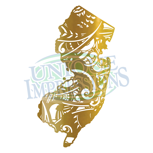 New Jersey Vinyl Decal, Gold Paisley