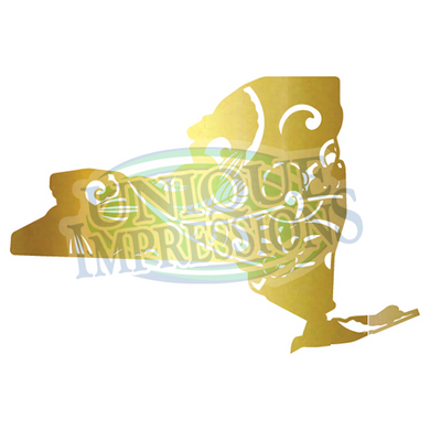 New York Vinyl Decal, Gold Paisley