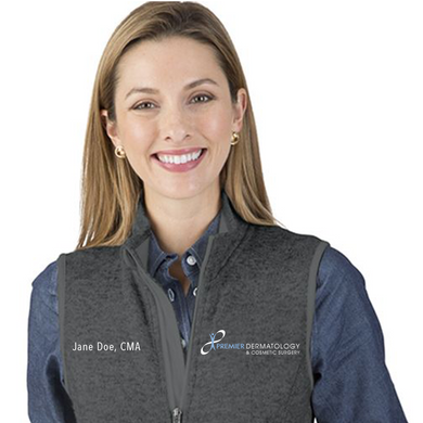 Premier Dermatology Women's Pacific Heathered Fleece Vest with Custom Name & Title
