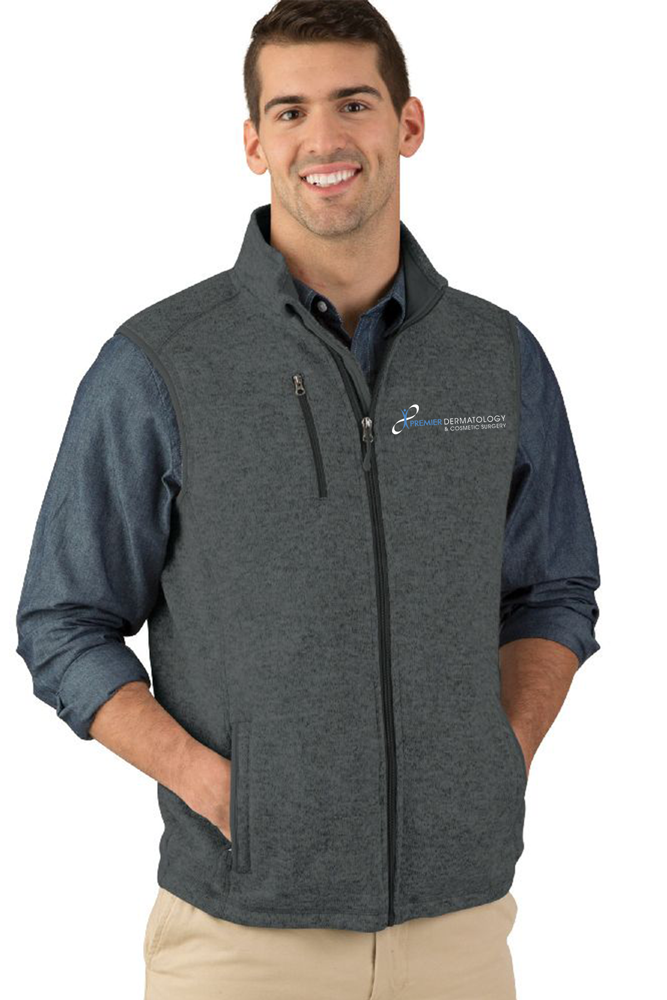 Premier Dermatology Men's Pacific Heathered Fleece Vest with Premier Logo Only