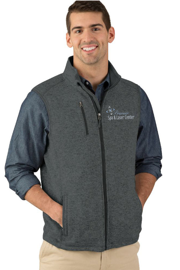 Premier Spa & Laser Center Men's Pacific Heathered Fleece Vest with Premier Logo Only