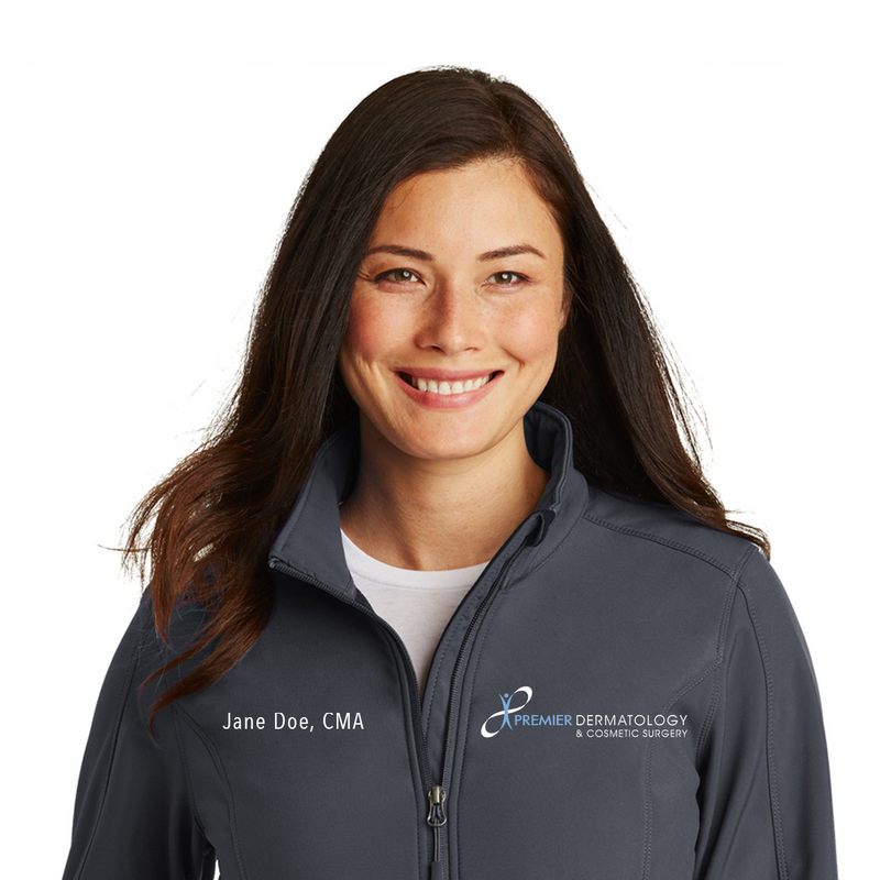 Premier Dermatology Port Authority Ladies Core Soft Shell Jacket with Custom Name & Title