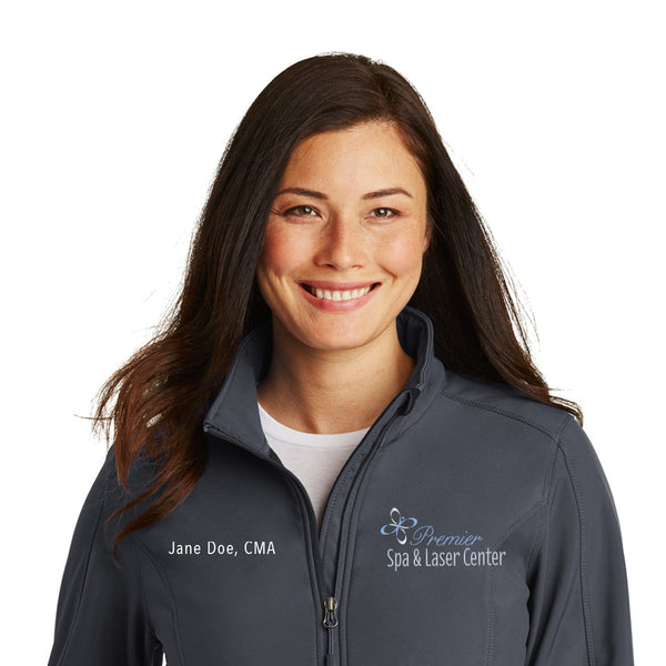 Premier Spa & Laser Center Port Authority Ladies Core Soft Shell Jacket with Custom Name & Title