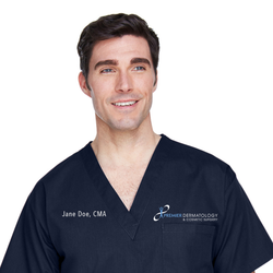 Premier Dermatology Harriton Adult 4.9 oz. Scrub Top with Custom Name & Title