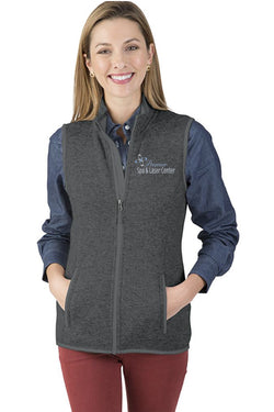 Premier Spa & Laser Center Women's Pacific Heathered Fleece Vest with Premier Logo Only