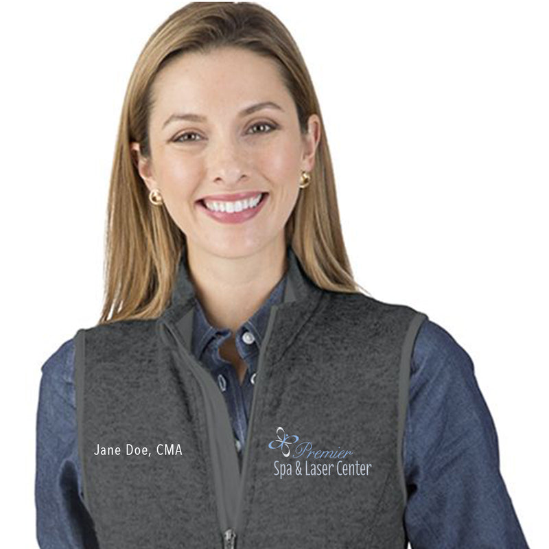 Premier Spa & Laser Center Women's Pacific Heathered Fleece Vest with Custom Name & Title