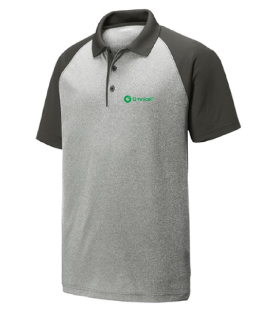 Omnicell PosiCharge RacerMesh Raglan Heather Block Polo