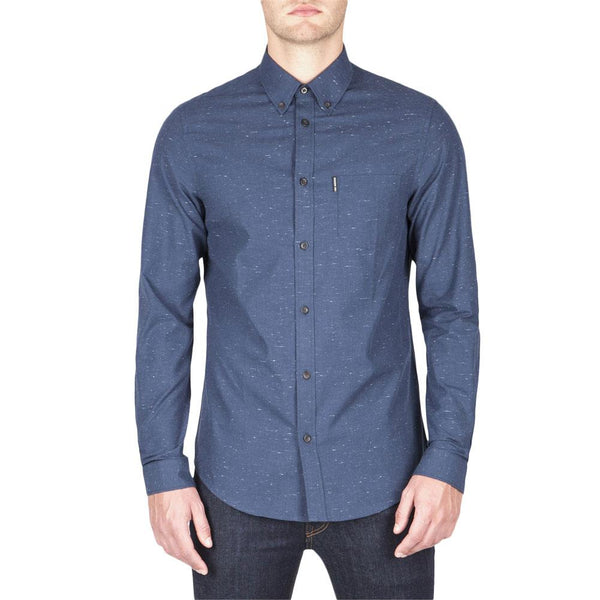 Ben Sherman - Slub Plain Oxford Mens Button-Up Long Sleeve Shirt