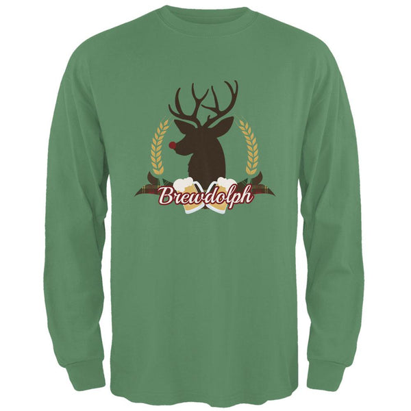 Christmas Brewdolph Rudolph Reindeer Pun Mens Long Sleeve T Shirt
