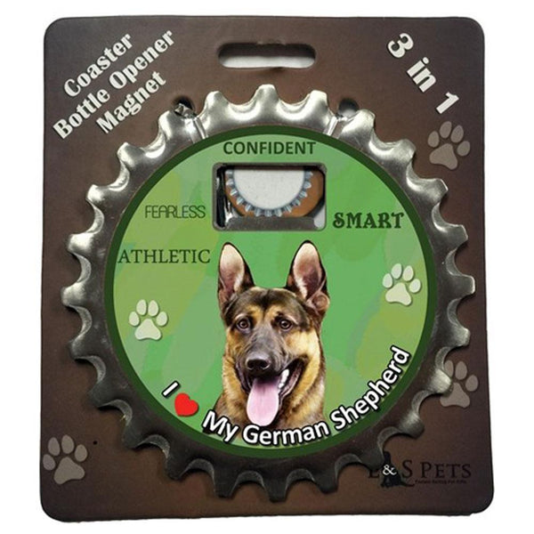 I Love My German Shepherd 3 in 1 Bottle Opener Coaster Magnet