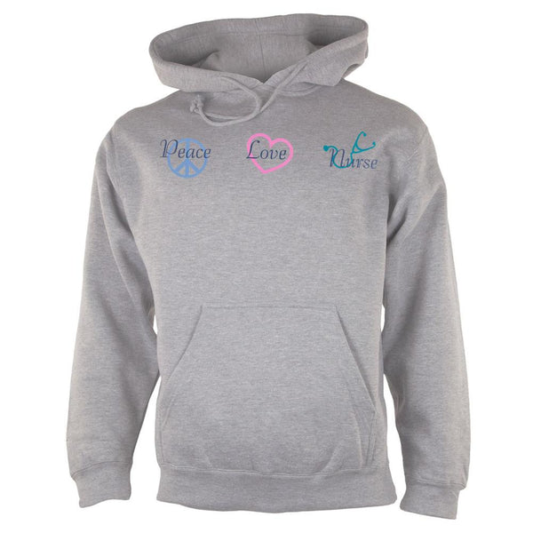 Peace Love Nurse Adult Pullover Hoodie