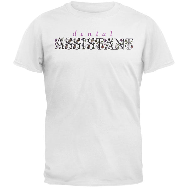 Dental Assistant Floral Logo Adult T-Shirt