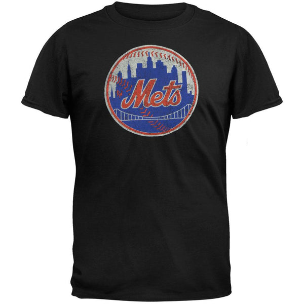 New York Mets - City Ball Logo Soft Black Adult T-Shirt