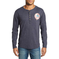 New York Yankees - Chest Logo Primo Adult Henley Long Sleeve T-Shirt