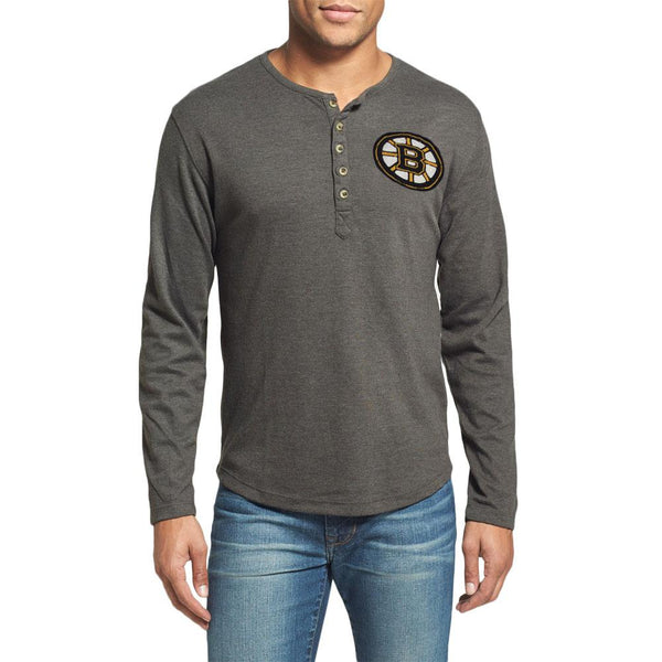 Boston Bruins - Chest Logo Primo Adult Henley Long Sleeve T-Shirt
