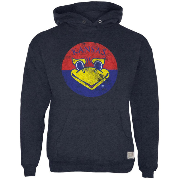 Kansas Jayhawks - Distressed Circle Bird Tri-Blend Adult Pullover Hoodie
