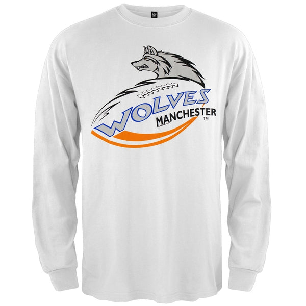 Manchester Wolves - Logo White Long Sleeve T-Shirt