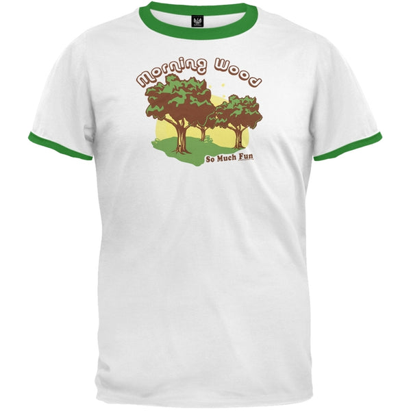 Morning Wood White/Green Ringer T-Shirt
