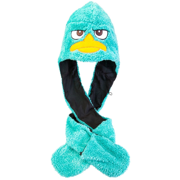 Phineas And Ferb - Perry Face Plush Hat With Attached Mittens