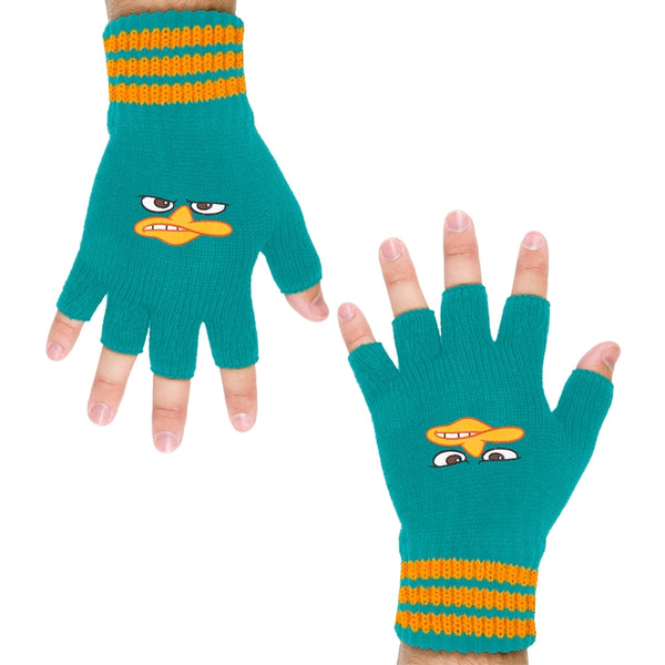 Phineas & Ferb - Perry Face Knit Fingerless Gloves